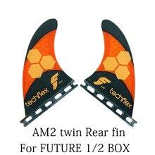 Voor Toekomstige AM2 Raer Twin Vinnen Techflex Zwart/Oranje Surfplank Vinnen Voor Toekomstige Doos 2 Stuks Set Performance Core Surf vinnen