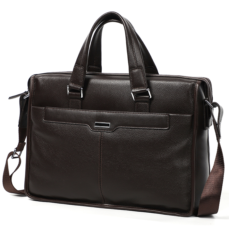 Nesitu A4 Black Coffee Genuine Leather 14'' 15.6'' Laptop Office Men Briefcase Portfolio Business Shoulder Messenger Bags M6006