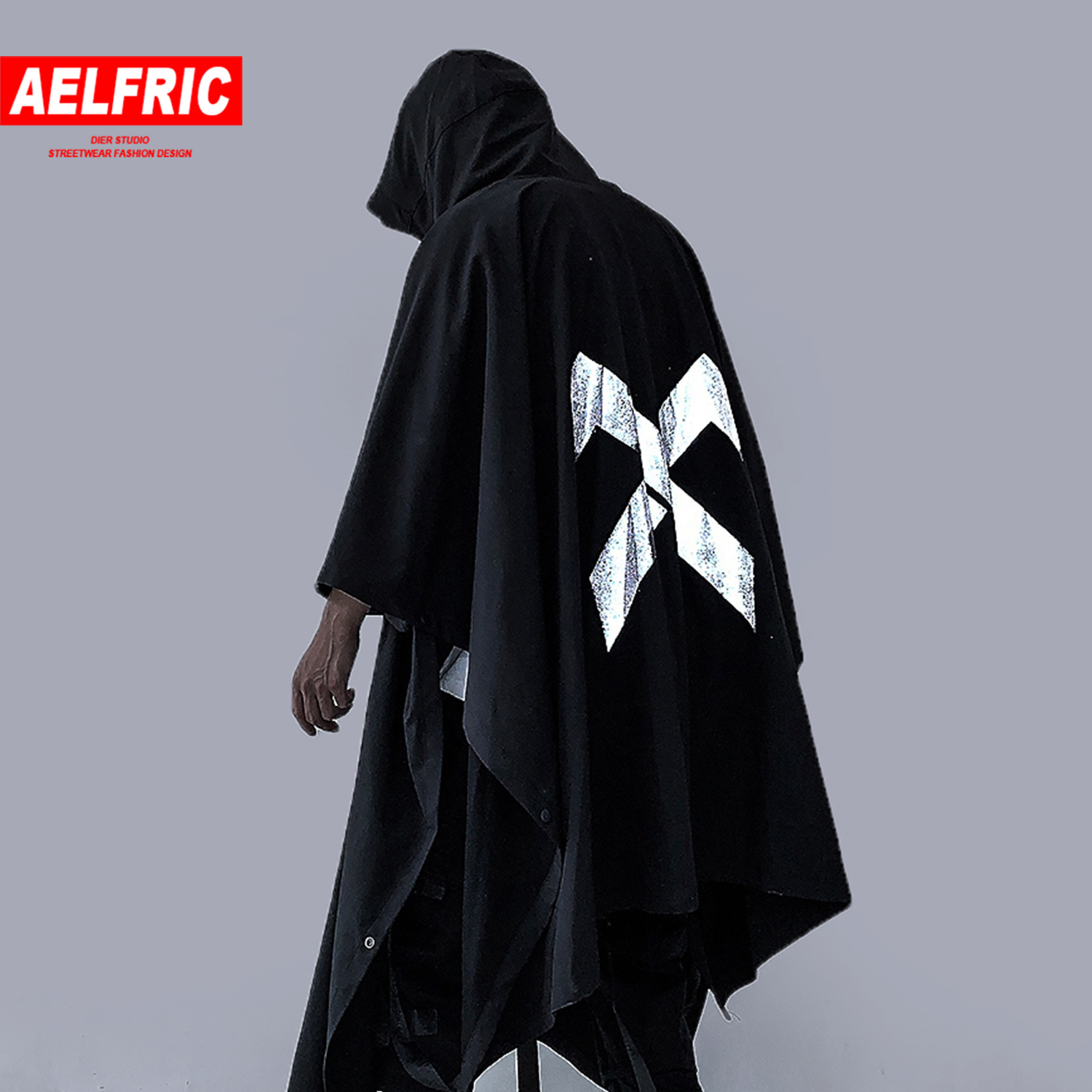 AELFRIC Hip Hop Letter Printed Mens Irregular Trench Jackets Autumn Fashion Casual Streetwear Harajuku Pockets Turtleneck Coats