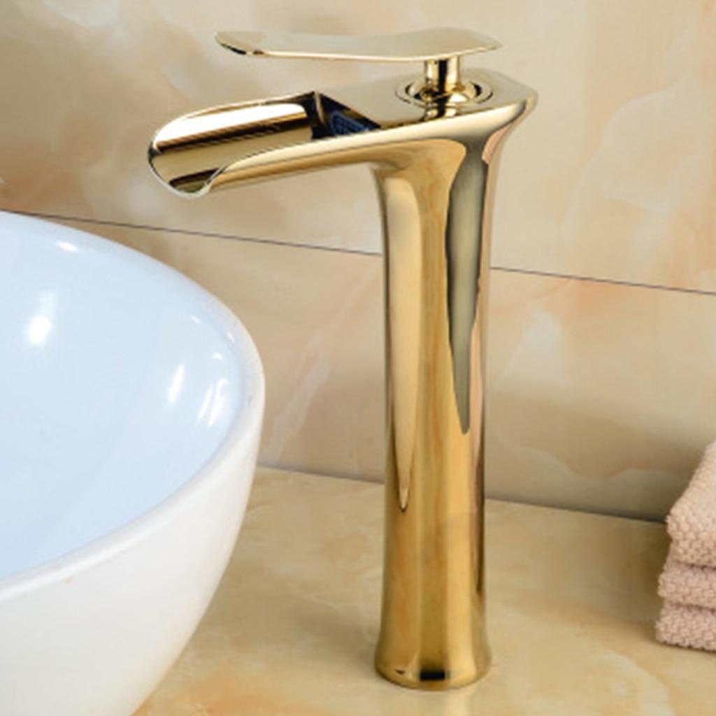 Robinets de bassin moderne or Antique salle de bains robinet cascade robinets monotrou eau froide et chaude robinet de bassin robinets mélangeur