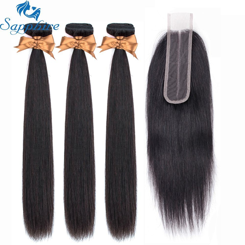 Sapphire Hair Malaysian Human Hair Bundles With Closure Hair Extension Straight Hair Bundles With Closure 2*6 Free Part Closure
