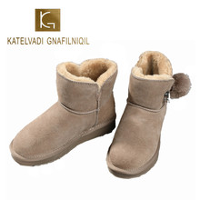 KATELVADI Snow Boots Women Winter Warm Brown Genuine Leather With Plush Shoes Flats Heels Ankle Boots Women Shoes K-508 цены онлайн