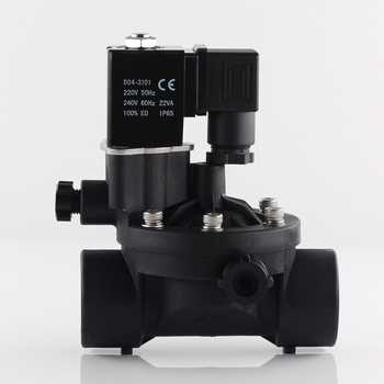 220V 2 way pilot operated plastic solenoid valve  normally closed or open water valves with manual switch and flow adjustment. цена 2017
