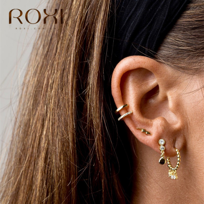 ROXI 925 Sterling Silver Earrings Golden Chain Rhinestone Stud Earrings for Women Prevent allergy Female Jewelry Korean Earings