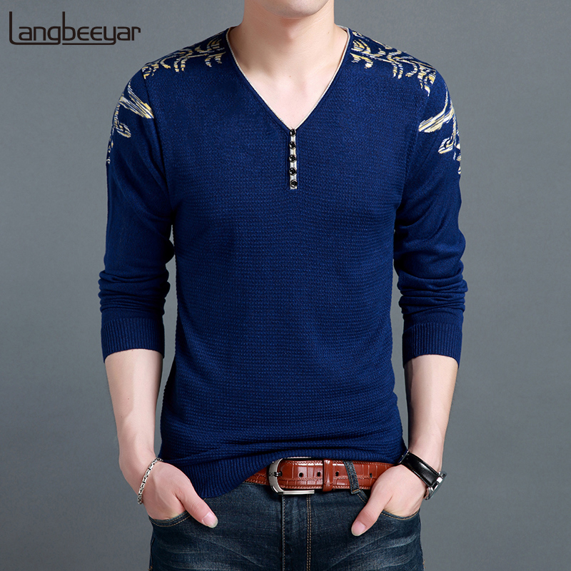 2019 New Fashion Brand Sweaters Mens Pullovers V Neck Slim Fit Jumpers Knit Patterns Winter Korean Style Casual Clothing Men