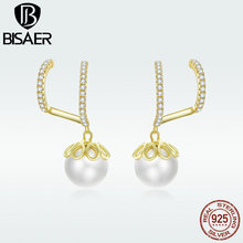BISAER New Arrival Stud Earrings Exquisite Jewelry For Wowen Real 925 Sterling Silver Gentle Peal Gift Party Fashion HVE151