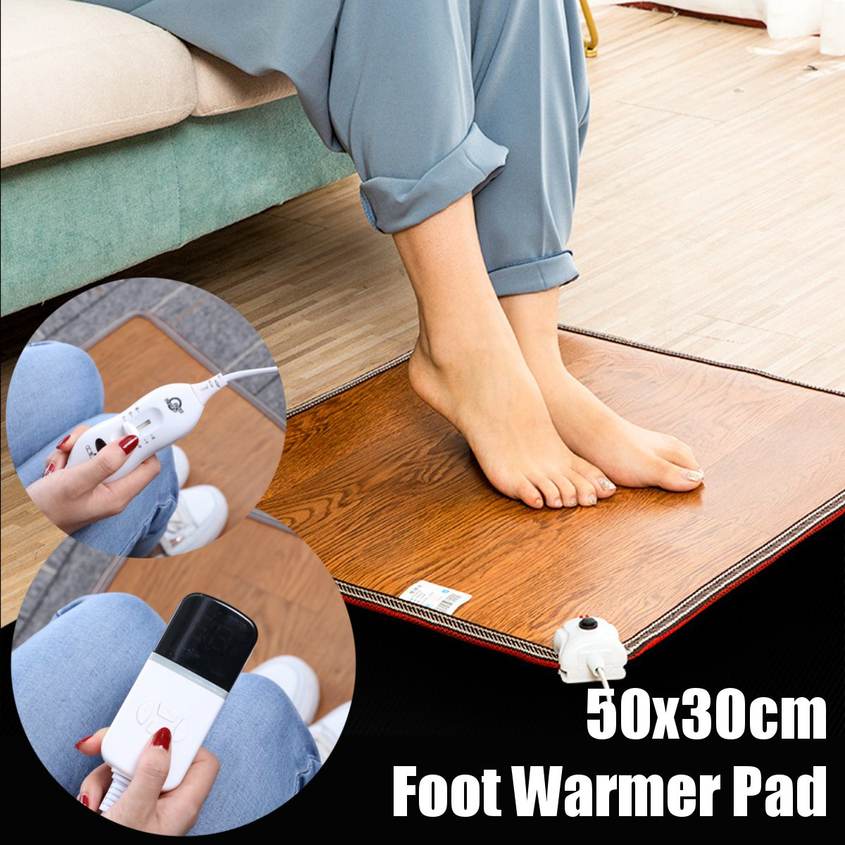 3 Pattern Leather Heating Foot Mat Warmer Electric Heating Pads Feet Leg Warmer Carpet Thermostat Warming Tools Home Office 60W