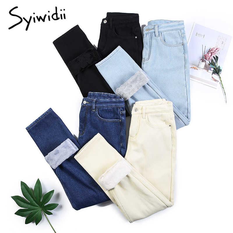 Beige Fleece Mom Jeans Denim Broek Fluwelen Plus Size Zwart Blauw Koreaanse Mode Dikke Boyfriend Jeans Voor Vrouwen Harembroek casual