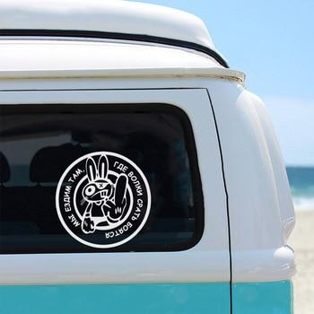 цена на Creative Rabbit Car Sticker Creative Car Door Handle Decals Dual Color Design Stickers Vinyls Decals