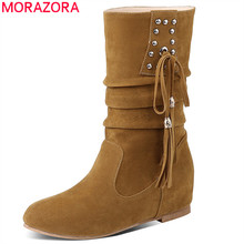 MORAZORA 2020 new arrival women ankle boots flock rivet tassel autumn winter boots casual flat shoes ladies big size 33 52
