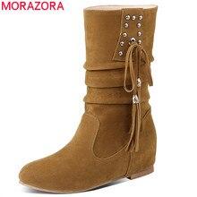 Morazora 2020 新到着の女性のアンクルブーツフロックリベットタッセル秋冬ブーツカジュアルフラットシューズレディースビッグサイズ 33 52