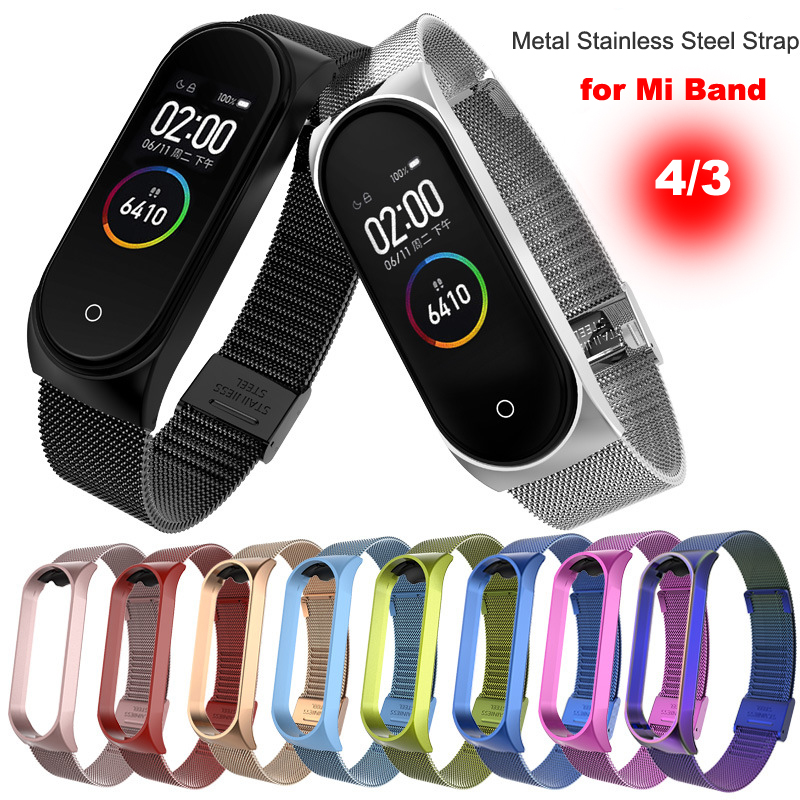 Strap for Xiaomi Mi Band 4 3 Strap Metal Stainless Steel For Mi Band 4 3 Strap Compatible Bracelet for Miband 4 3 Wristbands(China)