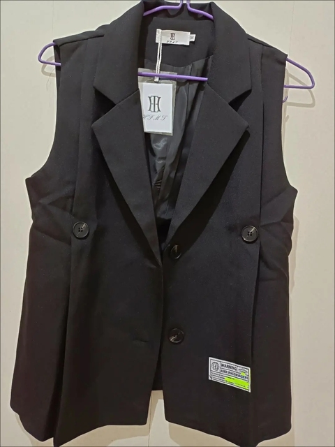 [EWQ] Simple Fashion Trend Ladies Vest Black Office Ladies Clothing 2021 Summer New  Letter Pleated Suit Collar Coats 16W1598 6
