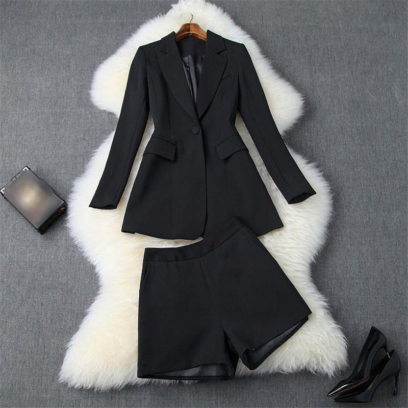 Elegante Büro Zwei Stück Outfits Drehen unten Kragen Herbst Winter Sicken Quaste Kerb Blazer Anzug Shorts Set Ol Twinset