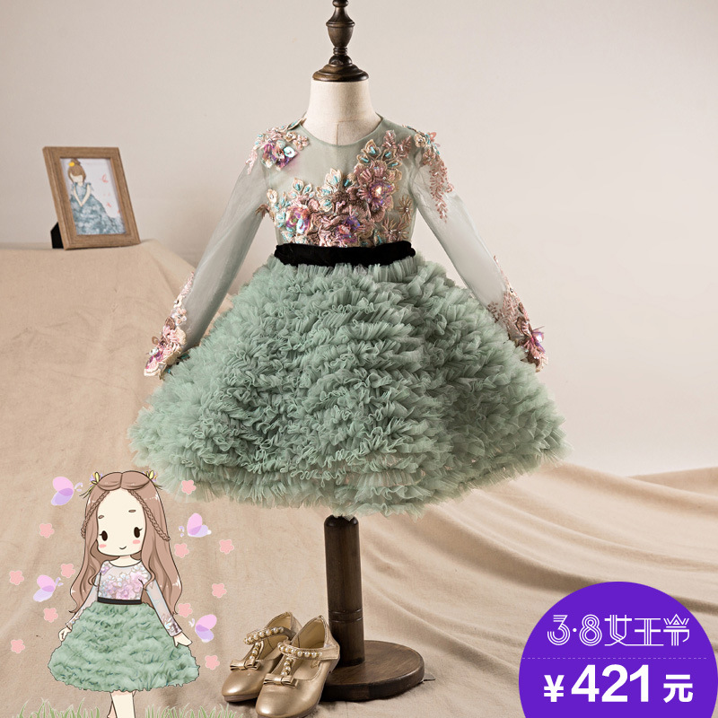 2018 New Style Formal Dress Children Performance Wear Long Sleeve Crew Neck New Year Lace Embroidery Piano GIRL'S Gown
