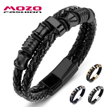 Fashion Bangle Men Jewelry Black Leather Braided Rope Chain Stainless Steel High Quality Bracelets for Male Party Gifts 067 mkendn new design braided genuine leather bracelets men stainless steel airplane anchor bracelets female friendship gifts