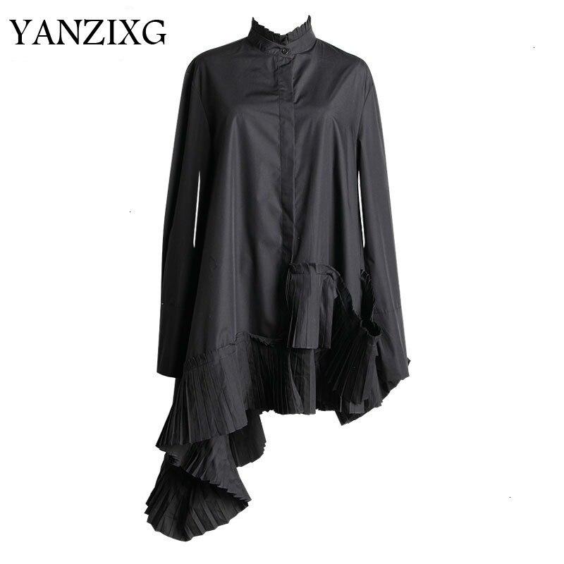 2019 nouveau printemps col montant à manches longues noir ourlet irrégulière volants plissé point chemise femmes Blouse mode L629