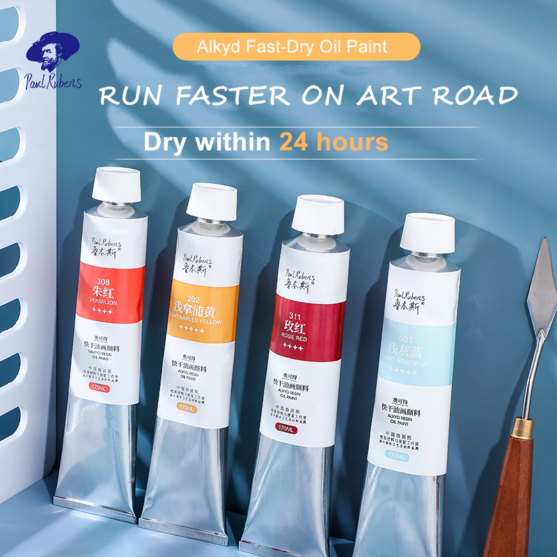 Official Paul Rubens Professional Oil Paints Alkyd Series Fast Dry 170ml Oil Canvas Pigment for Beginner Art Supplies