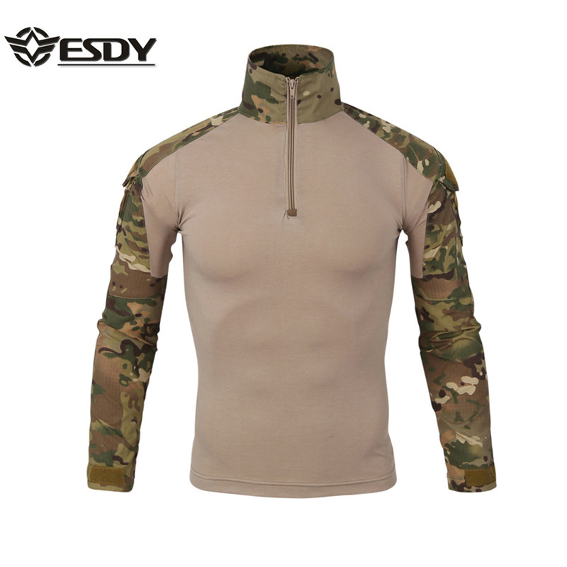 Outdoor Autumn Winter Men Hiking T-shirts Camouflage Tactical Combat Multicolor T-Shirts Hiking Trekking Warm Windproof T-Shirts
