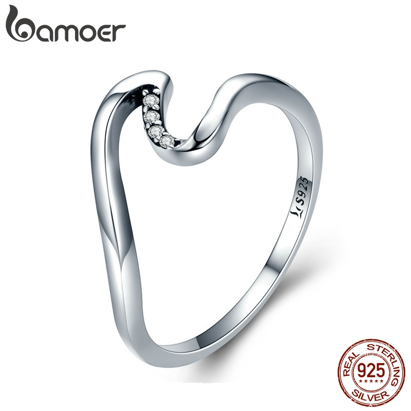 BAMOER Authentic 100% 925 Sterling Silver Geometric Wave Finger Rings for Women Wedding Engagement Jewelry Gift S925 SCR378(China)
