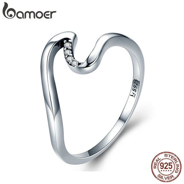 BAMOER Authentic 100% 925 Sterling Silver Geometric Wave Finger Rings for Women Wedding Engagement Jewelry Gift S925 SCR378
