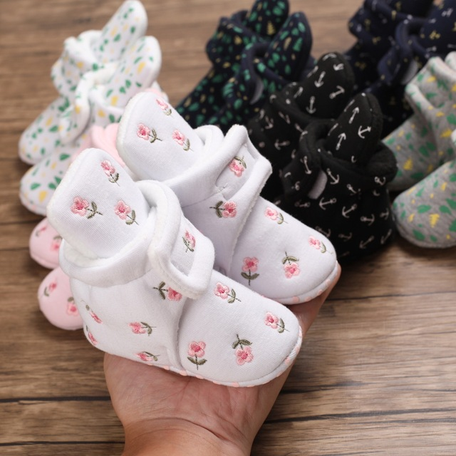 Baby Socks Shoes First Walkers Booties Cotton Anti-slip Warm Infant Crib Shoes