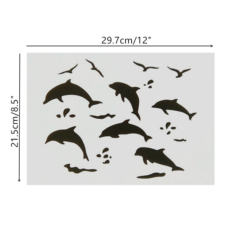 A4 Size DIY Craft Dolphin Pattern Stencil Template For Wall Painting Scrapbooking Stamp Decor Embossing Paper Cards