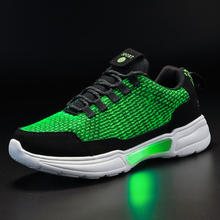 UncleJerry New LED Shoes Fiber Optic Shoes for girls boys men women USB Charging light up shoe for Adult Glowing Running Sneaker