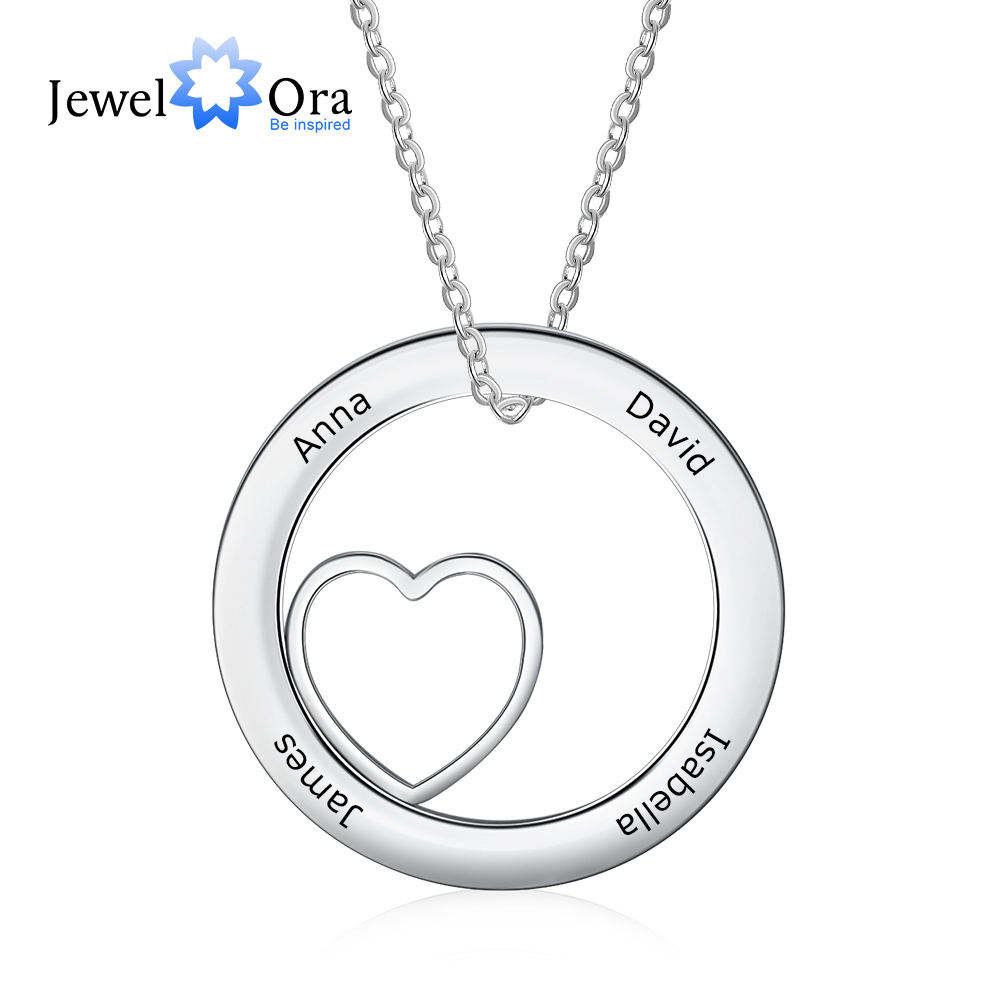 Personalized Mother Necklace With 4 Names Custom Family Cicle Engraved Necklace Christmas Gift For Women (JewelOra NE103284)