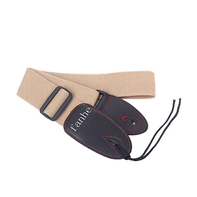Adjustable Stripy Strap Belt W/ Leather End For Ukulele Guitar Banjo Mandolin