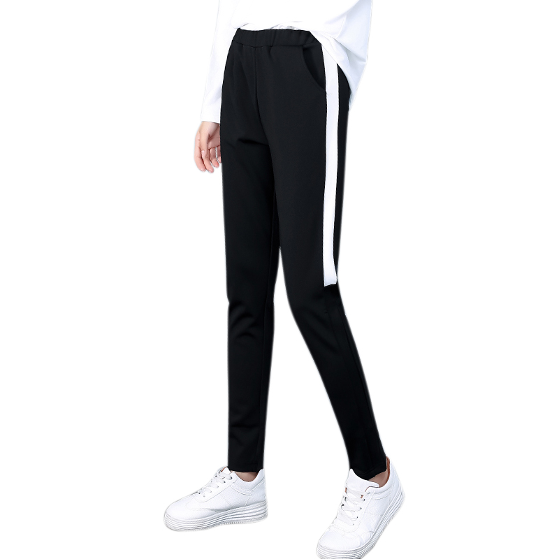 Fashion Side Striped Pants Women Loose Pencil Pants Spring Autumn Casual Sweatpants Elastic Waist Trousers Female
