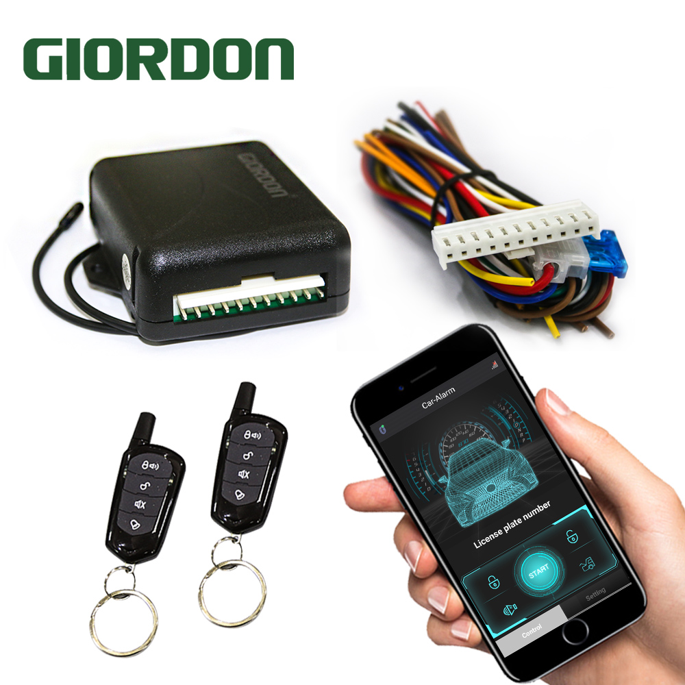 GIORDON Universal 12V Car Alarm Systems Auto Remote Central Kit Door Lock Keyless Entry System Central Locking With Remote Contr