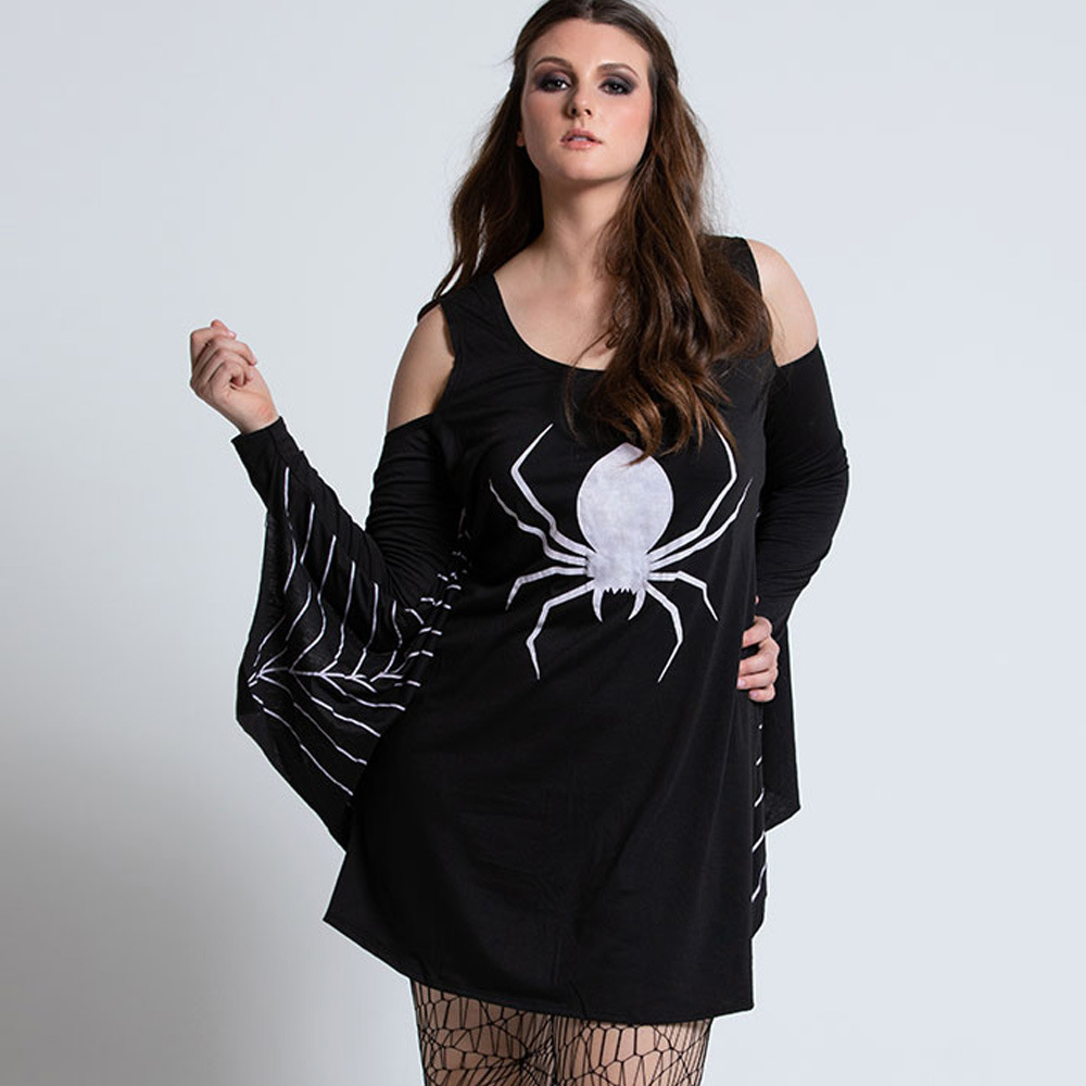 20.19 Million Halloween New Style WOMEN'S Dress Hot Selling Spider Printed Bat Long-sleeved Dress Costumes