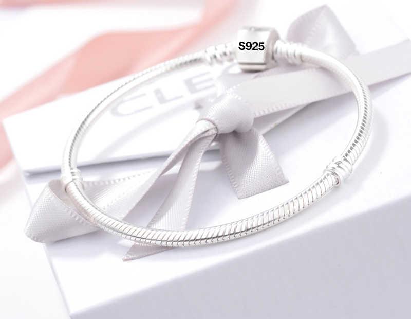 Met Certificaat Alle Hele Solid 925 Zilveren Snake Ketting Fit Originele Bedels Zilver 925 Armband Diy Kralen Pulsera Fijne Sieraden