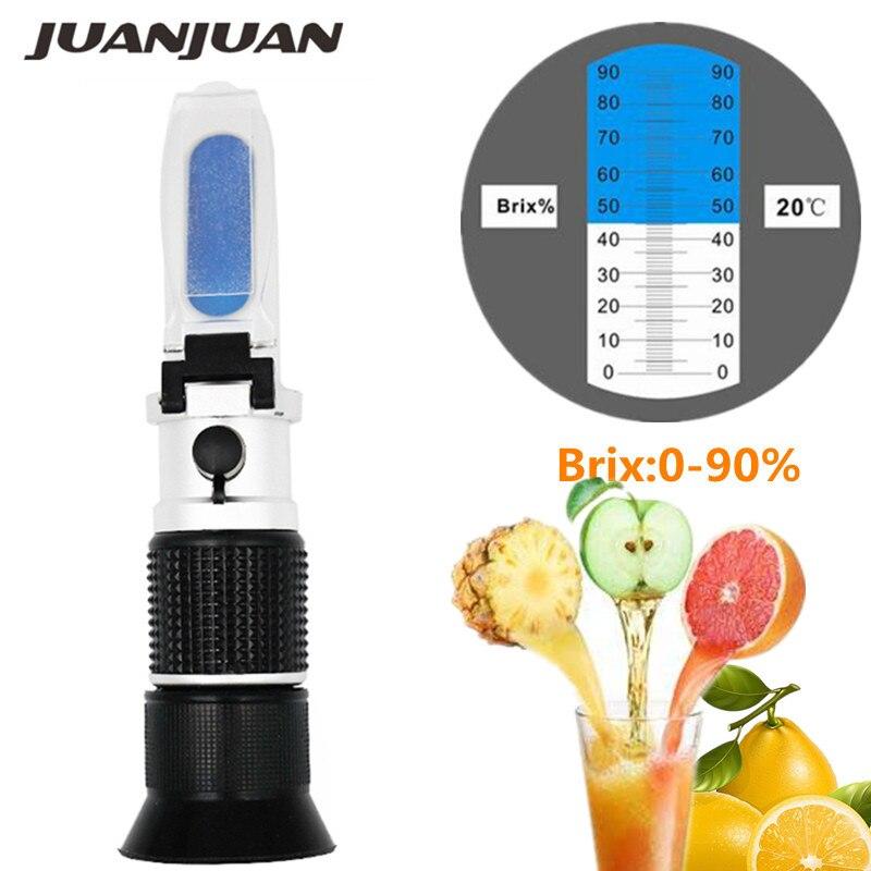 Handheld 0-90%  Brix Refractometer For Sugar Content Fruit Juice Liquids Tester Accuracy Brix Measurement Instrument 20% Off