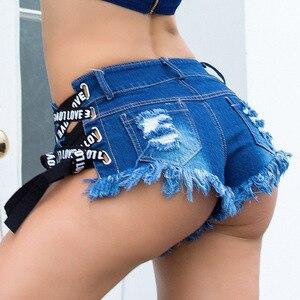 Image 2 - Lace Up Sexy Del Ritaglio Pole dance perizoma Bar jeans Delle Donne del denim Micro Ultra A Vita Bassa Vita Clubwear Strappato Estate DK074S40