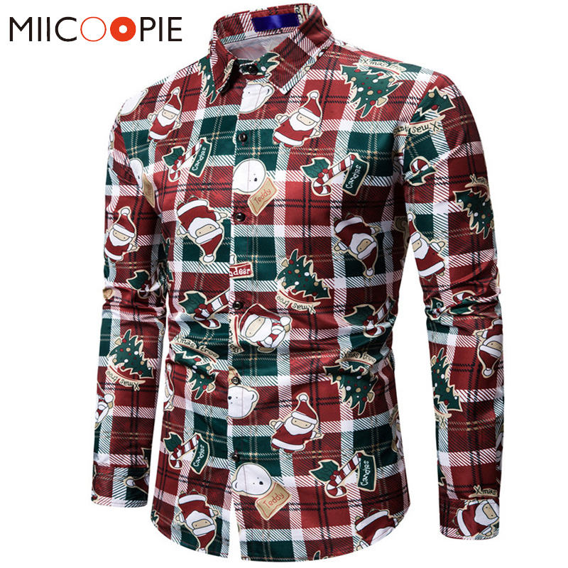 Long Sleeve Plaid Shirt Men Santa Claus Christmas Tree Print Chemise Homme Manche Longue 2019 New Men's Funny Christmas Shirts