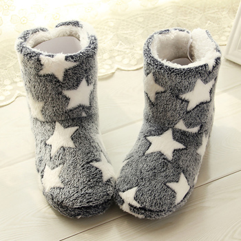 Winter slippers women Plush Warm Home slippers Flock Star Pattern Soft slippers Indoor Floor Non slip House Slippers 2020 New winter home slipper man women despicable me minions slippers plush stuffed funny slippers flock indoor house shoes adult cosplay