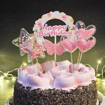 WEIGAO Bling Fata PVC Cake Topper Star Nube Corona Arcobaleno Unicorn Unicorn Arcobaleno Prodotti Per Decorazione Torte di Compleanno Decorazione