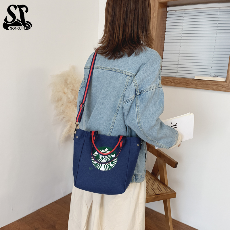 Canvas Handbag Women Shoulder Bag With Removable Strap Crossbody Wear Resistant Casual Fashion Zipper Bag