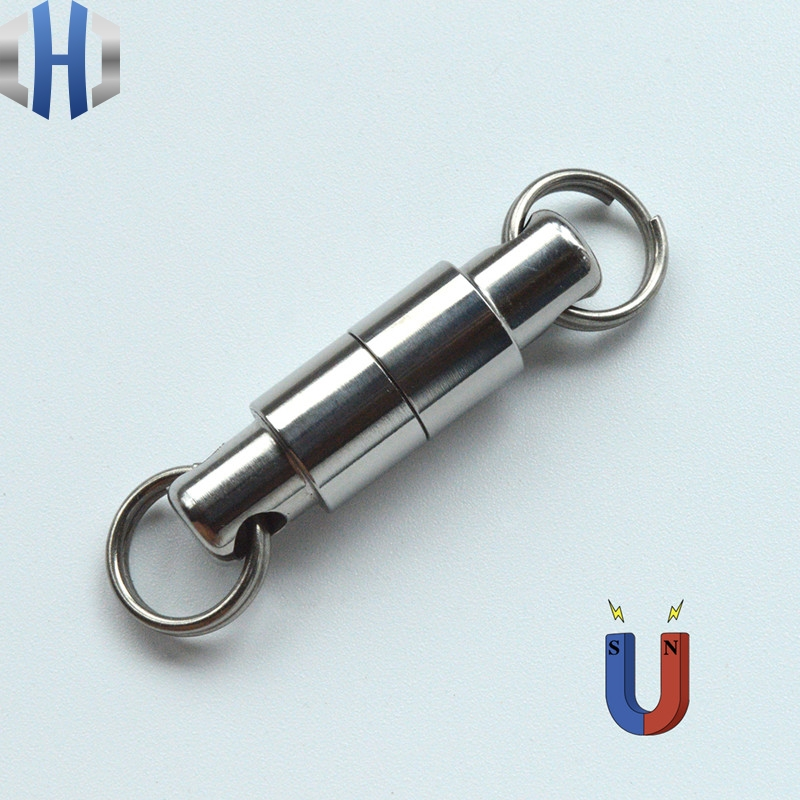 New Arrival Iron Super Magnetism Tool EDC Titanium Alloy Double Detachable Design Keychain With Magnet EDC Luxury Key Ring