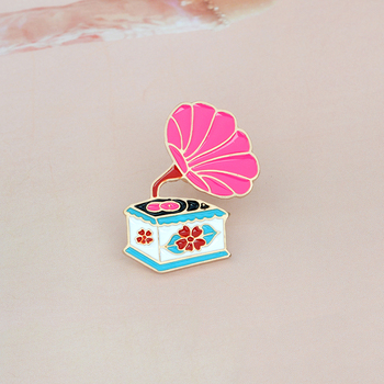 Cartoon Phonograph Gramophone Brooch Pin Button Pink Enamel Icon Backpack Denim Collar Lapel Pin Metal Badge Jewelry Gift image