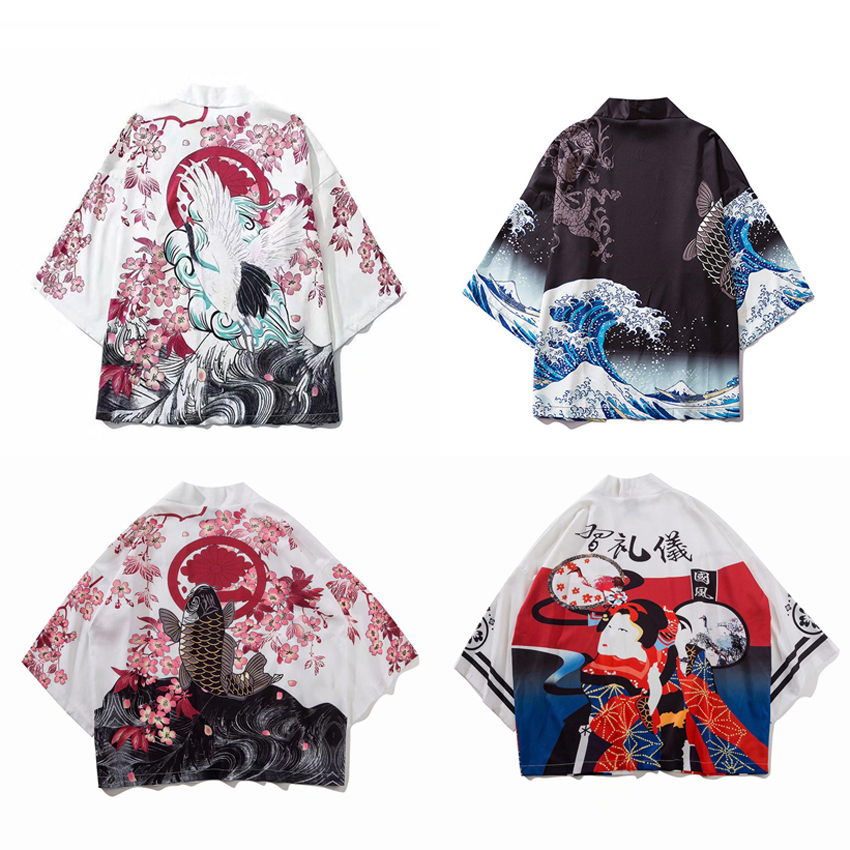 Thin Loose Style Harajuku Japanese Cardigan For Woman 3D Ukiyo-e Print Ethnic Kimono Haori Sunscreen Coat Man Couple's Clothing