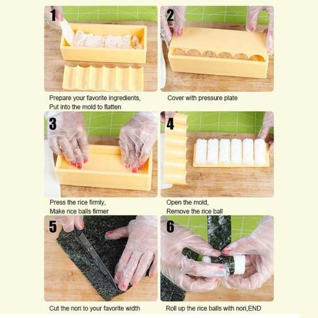 Sushi Tool Set DIY Roller Sushi Roll Mold Making Meat Vegetables Laver Rice Roll Sushi Mold Making Kitchen Accessories Kit Tools 2