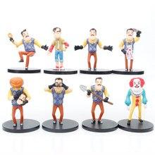 8 pçs/set Jogo Olá Meu Vizinho Figura Brinquedo Do Vizinho Avental Cutelo Modelo Bonecas Para As Crianças Presentes de Natal Aniversário 8cm
