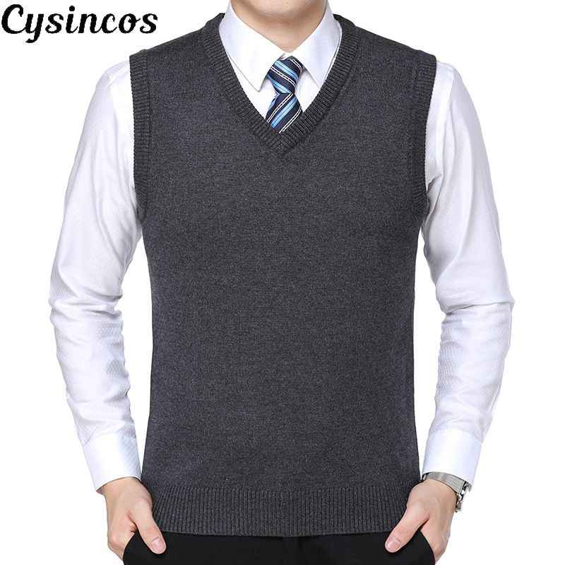 CYSINCOS New 2019 Knitted Pullover Male V-Neck Sleeveless Formal Business Homme Casual Knitwear Solid  Men Thin Sweaters Vest