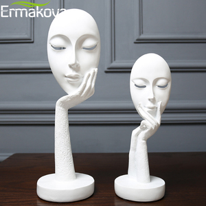 Image 4 - ERMAKOVA Nordic Abstract Thinker Thinking Lady Mask Figurine Resin Statue Office TV Cabinet Home Decoration Crafts