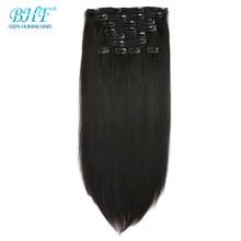 Bhf Клип человеческих волос для наращивания искусственные волосы одинаковой направленности бразильские Прямые Натуральные человеческие волосы 140 г Клип Ins