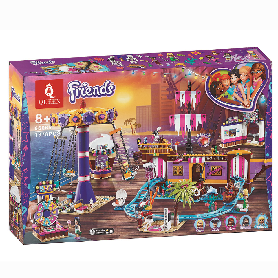New Friends Set Amusement Park Fit For Legoinglys Friends Model Building Block Bricks Toys For Girl 41375 Christmas Gifts