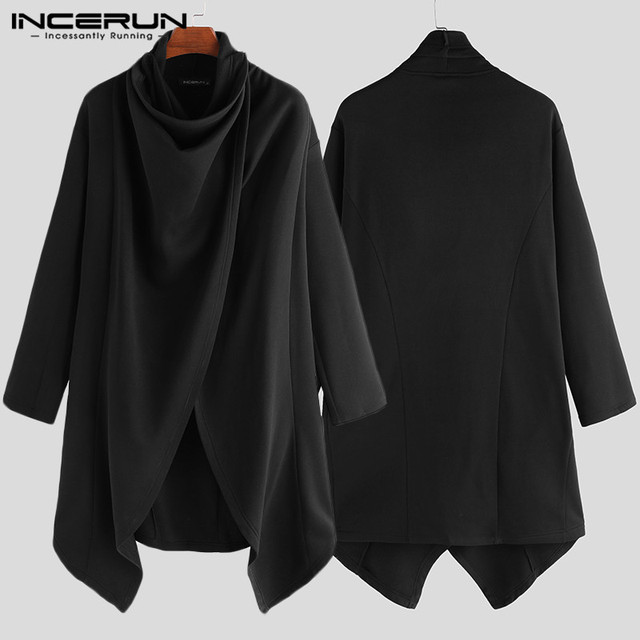 INCERUN Men Cloak Coats Streetwear Turtleneck Solid Long Sleeve Fashion Men Cape Outerwear Punk Style Irregular Jackets S-5XL 5